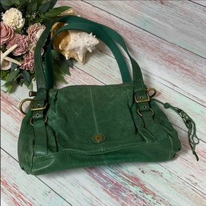 Fossil Long Live Vintage Green Leather Hobo